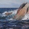 By Beacon Hill on the coast of Vancouver Island is the setting for this seascape.FRAMED