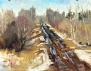 Plein Air painting early spring just outside Legal Alberta