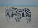 This oil painting is of two zebras away from the group and it almost looks as though they are sharing a secret.