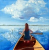 Girl in a Canoe on a field of water on Gallery Canvas