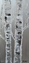 Birch bark with Mica sparkles, acrylic paint & white moulding paste
