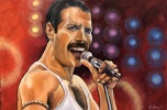 "Freddie Mecury, frontman of the band Queen. A piece I did recently for a solo art exhibit relating to 50 years of British Invasion in music. In coordination with a musical performance ""Across the Pond"" at Theatre Orangeville in Feb 2019."