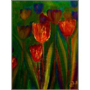Vibrant red and orange tulips popping up to welcome Spring in a garden of colour  Original art, signed, varnished and ready to hang Shipping extra through Canada Post   Email claire@clairebullfineart.com for purchase.  Prints, cards and gift items also available at http://clairebullgallery.com