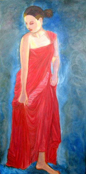 Quite Large painting of model in long Rouge Dress on blue background.